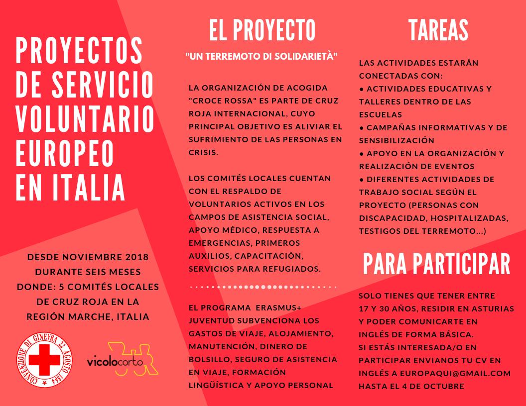 Plazas para un proyecto de SVE – Italia