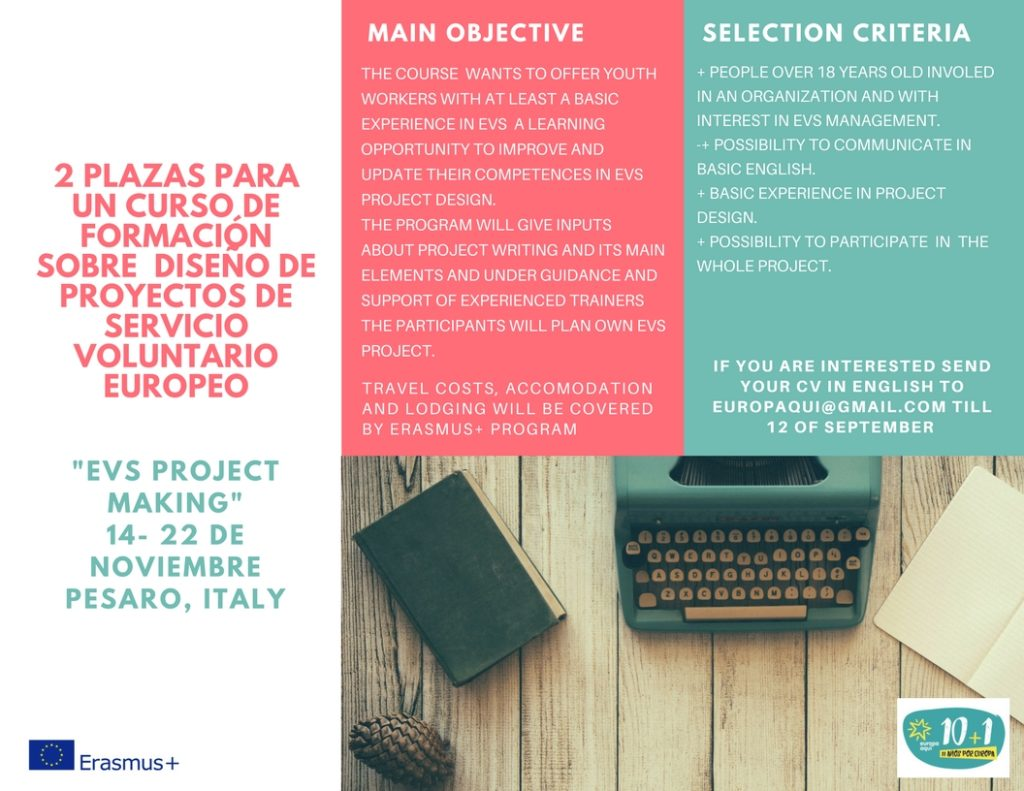 2 plazas para el curso «EVS project making»